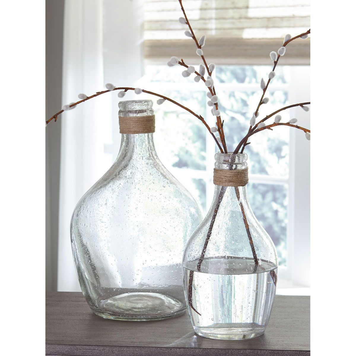 Picture of ROPE AND SEEDED GLASS VASE SET (2/CN)