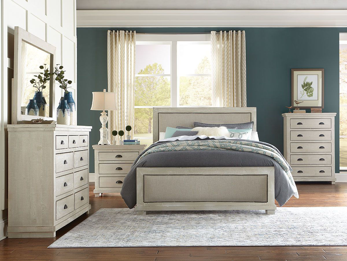 Homestead Dove Grey 5 Piece Upholstered Bedroom Group Badcock Home Furniture More