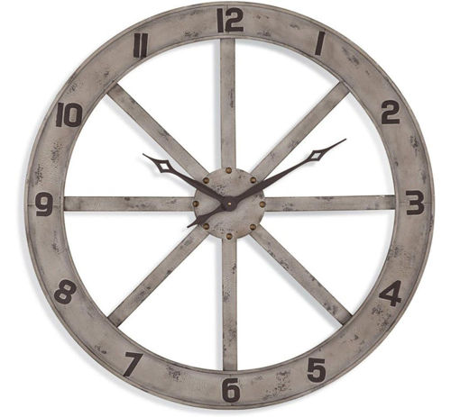 Picture of DISTRESSED WHITE WALL CLOCK