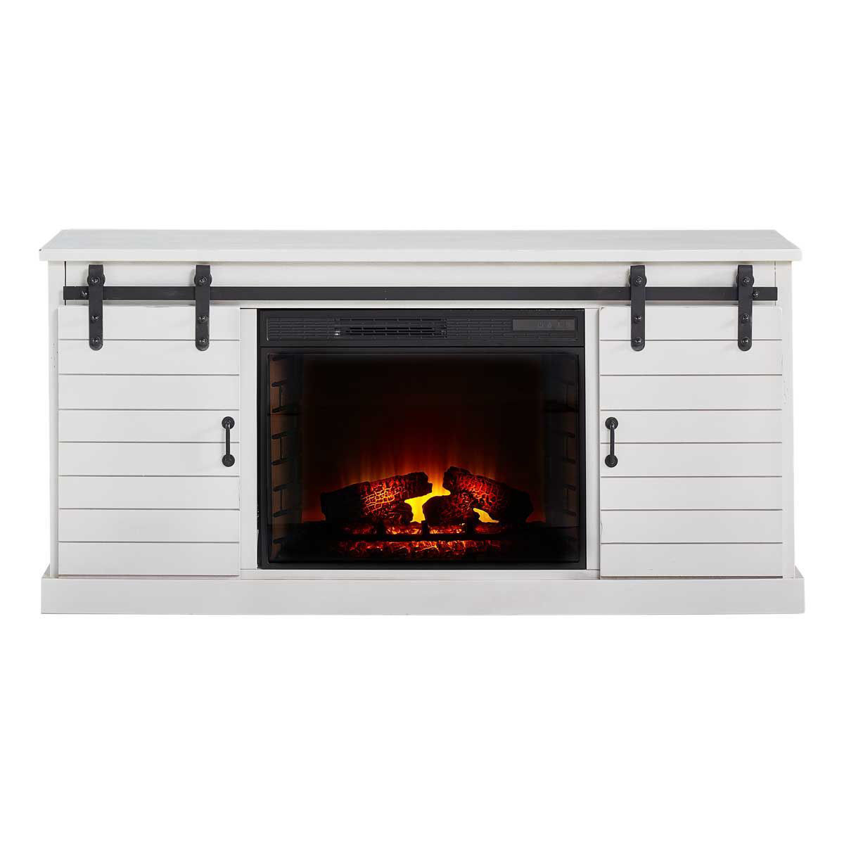 """Picture of FARMHOUSE WHITE 66"""" TV CONSOLE W/ FIREPLACE"""