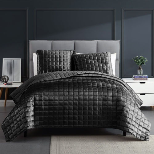 Picture of CONTEMPORARY VELVET COVERLET SET