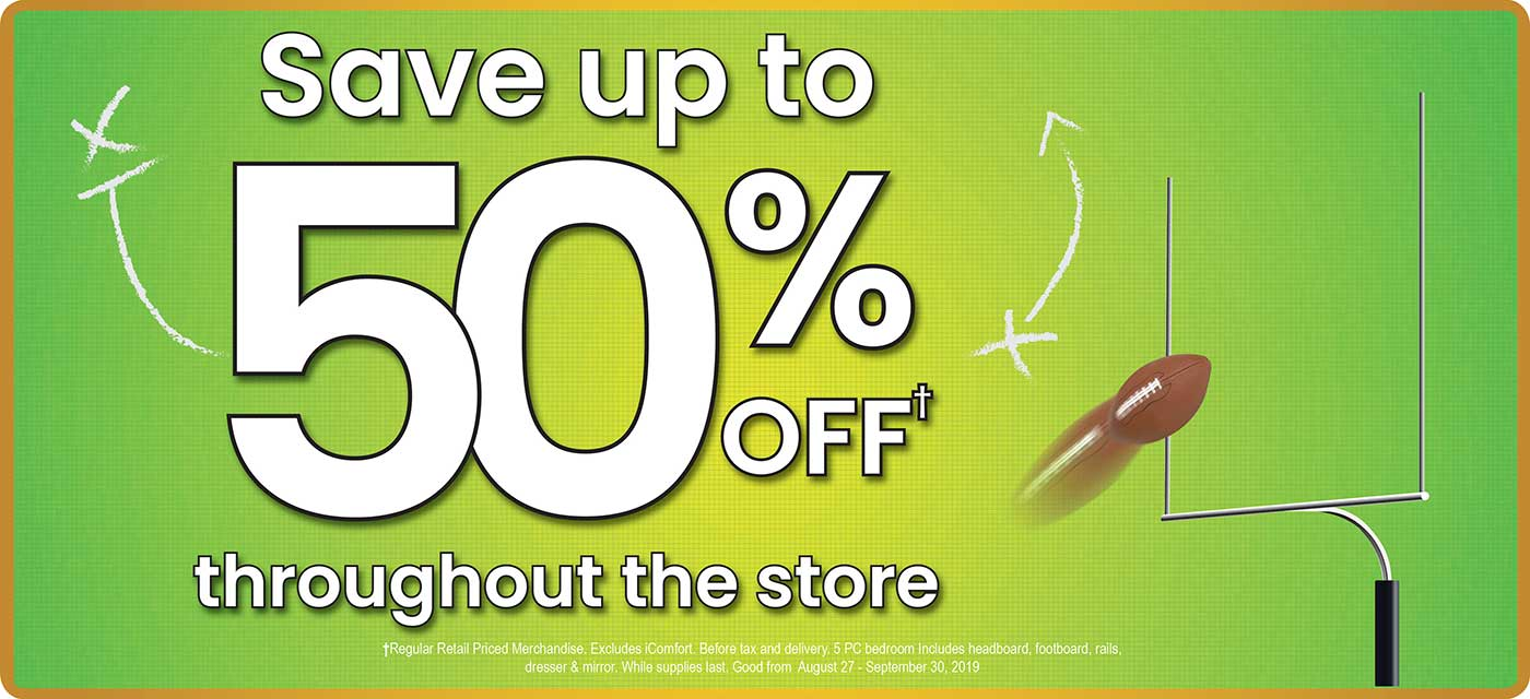Save up to 50% Off throughout the store
