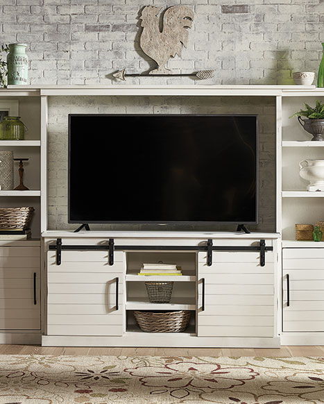 Picture of Farmhouse White 4 Piece Entertainment Center